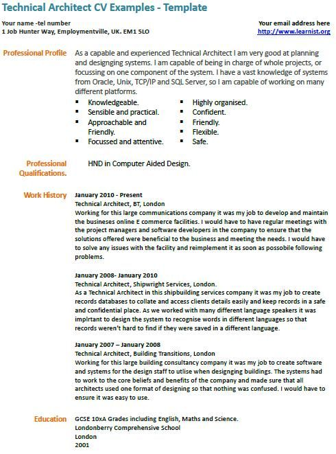 technical architect cv exle model