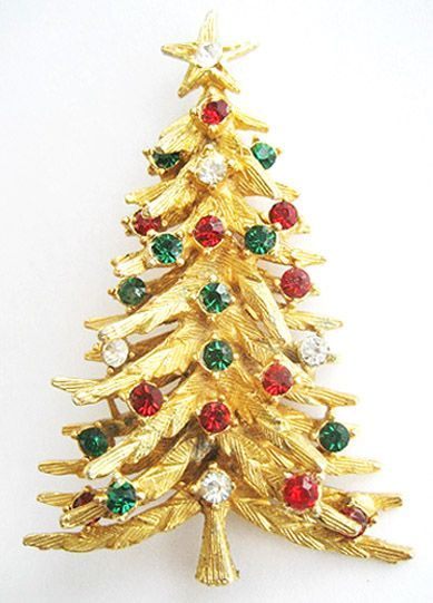 Tall Emerald Green Ruby Red Crystal Rhinestone Christmas Tree Pin Signed Art Christmas Jewelry Christmas Time Is Here Holiday Pins