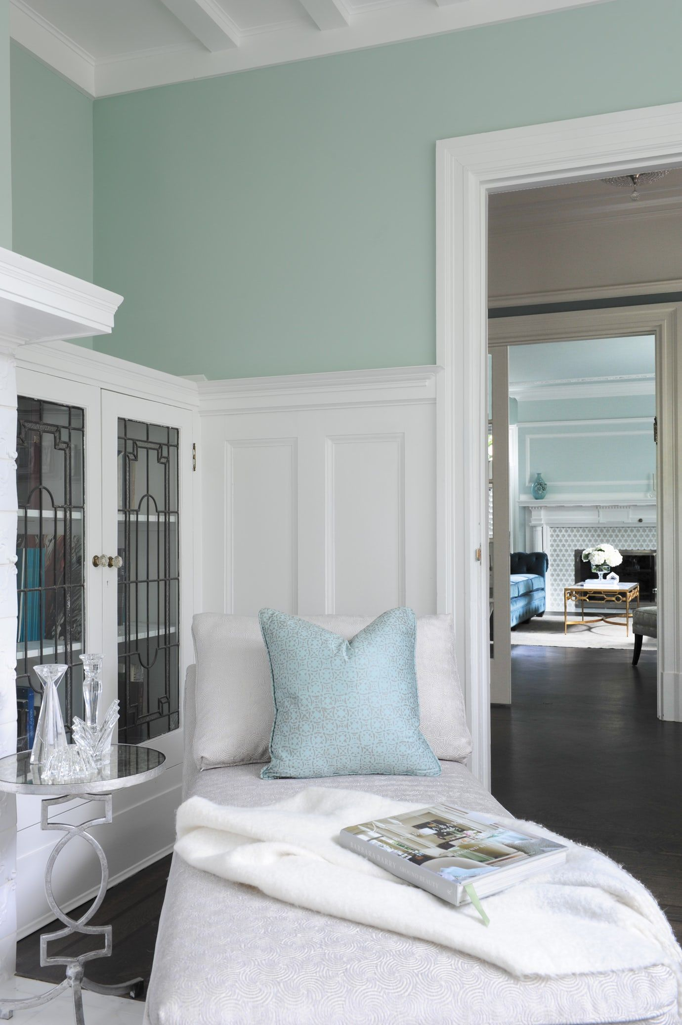 Bright Vancouver den in white and blue Library Living