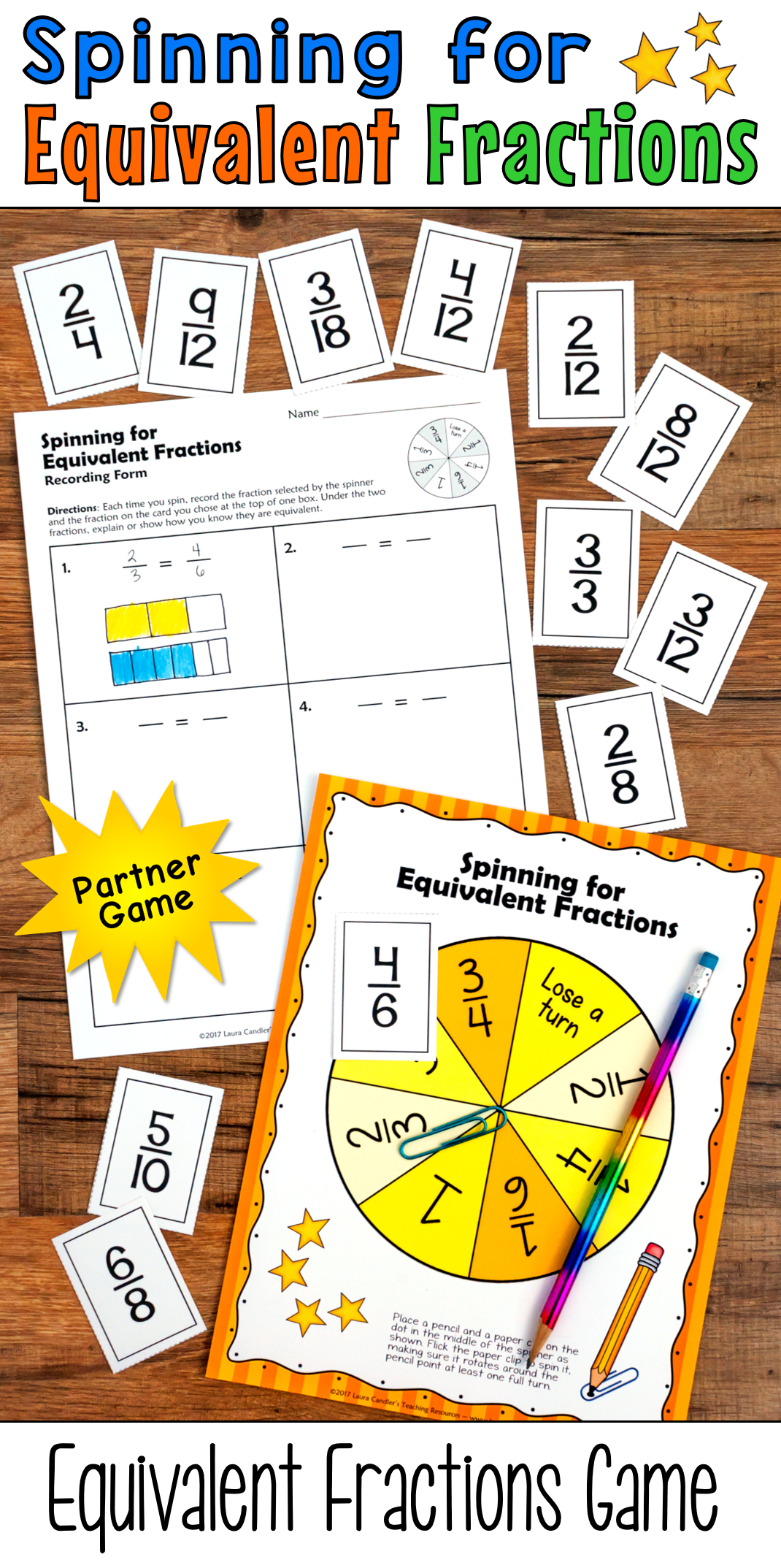 Equivalent Fractions Games For Math Centers Or Partner