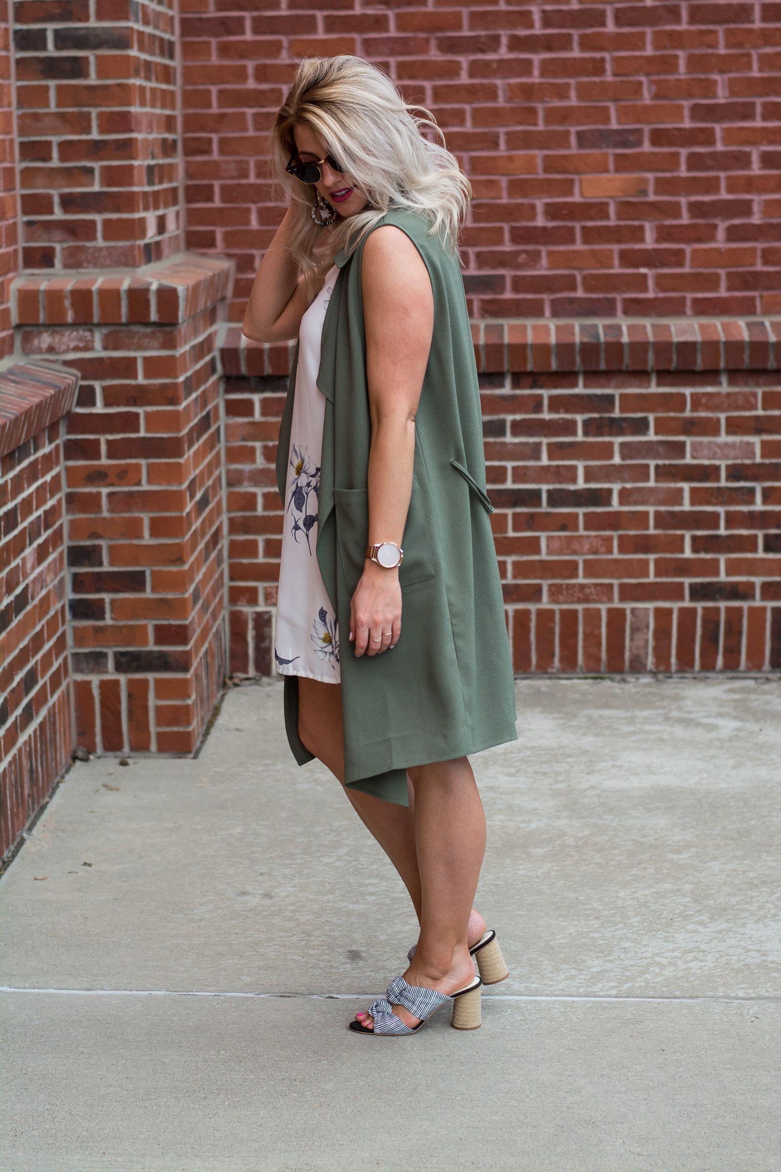 e390c0f06d Outfit Idea  Olive Green Vest + Striped Sandals.
