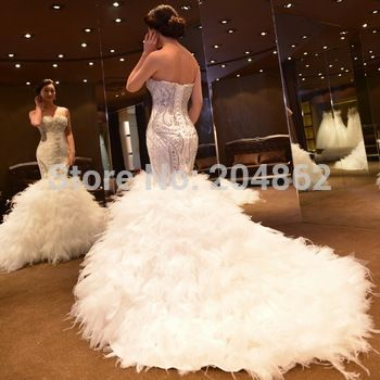 2015 Amazing Luxury Tube Top Slim Waist Crystal Rhinestone Mermaid Wedding Dress Fishtail Bridal Gown With