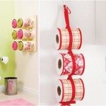 Bathroom organizing ideas – Towel storage made of decoupaged tin cans