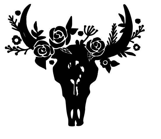 Cow Skull Vinyl Decal Horns Flower Crown Decoration