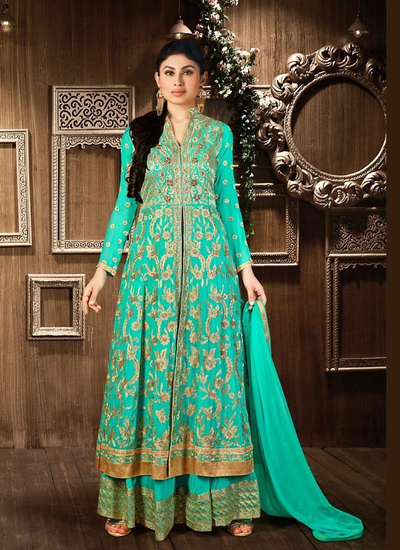 Turquoise Color Georgette Incredible Salwar Kameez in Achkan Style ...