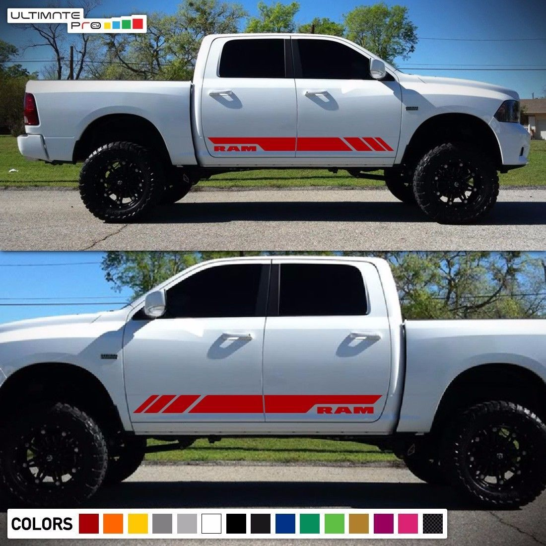 Dodge Ram Rocker Strobes Graphic Kit Gloss Black