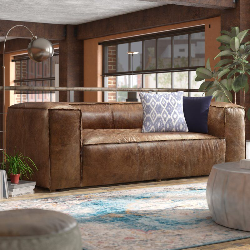 Annessia Leather Sofa Reviews Allmodern Upholstered Furniture Living Room