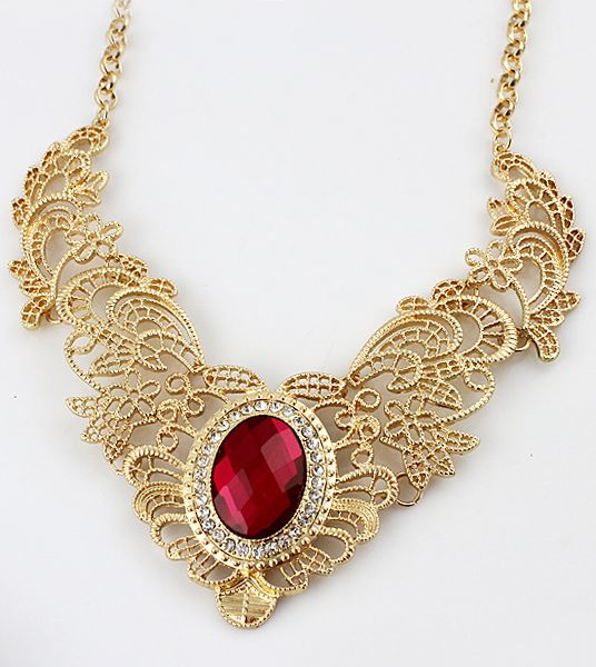 Red Gemstone Gold Hollow Collar Necklace - this would be absolutely gorgeous against a black dress... or... with just a red bra, panties and heels...just a thought.