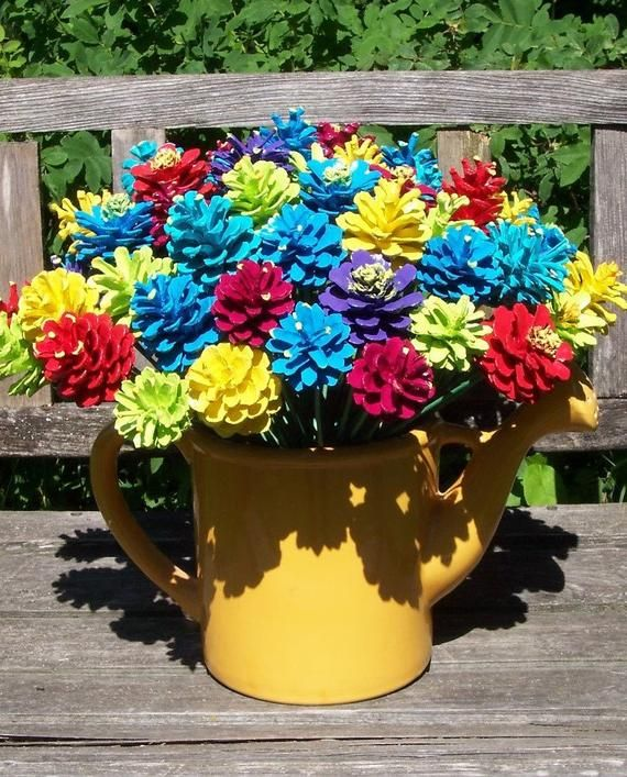 Pine Cone Flowers, Bright and Bold.  ONE DOZEN.  Painted Pine Cones  on 12-inch Stems.  Bouquet, Mot #pineconeflowers