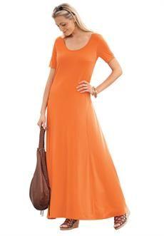 f62847d7c24 Jessica London Women s Plus Size Jessica London Tee Shirt Maxi Dress Vivid  Orange