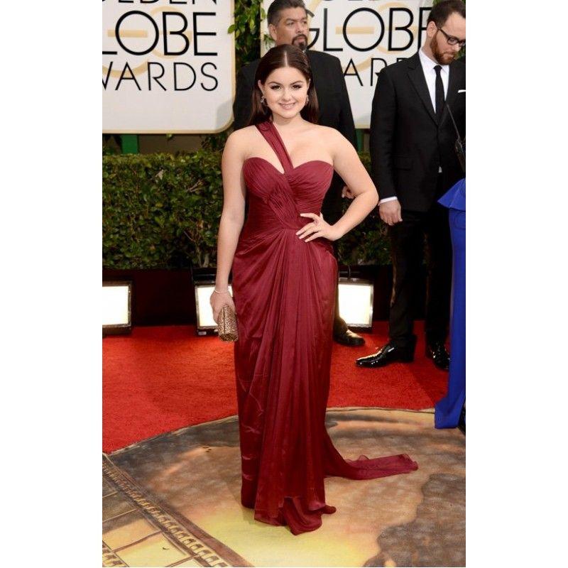 Ariel Winter Burgundy One Shoulder Evening Dress at 2014 Golden Globe Awards Red Carpet