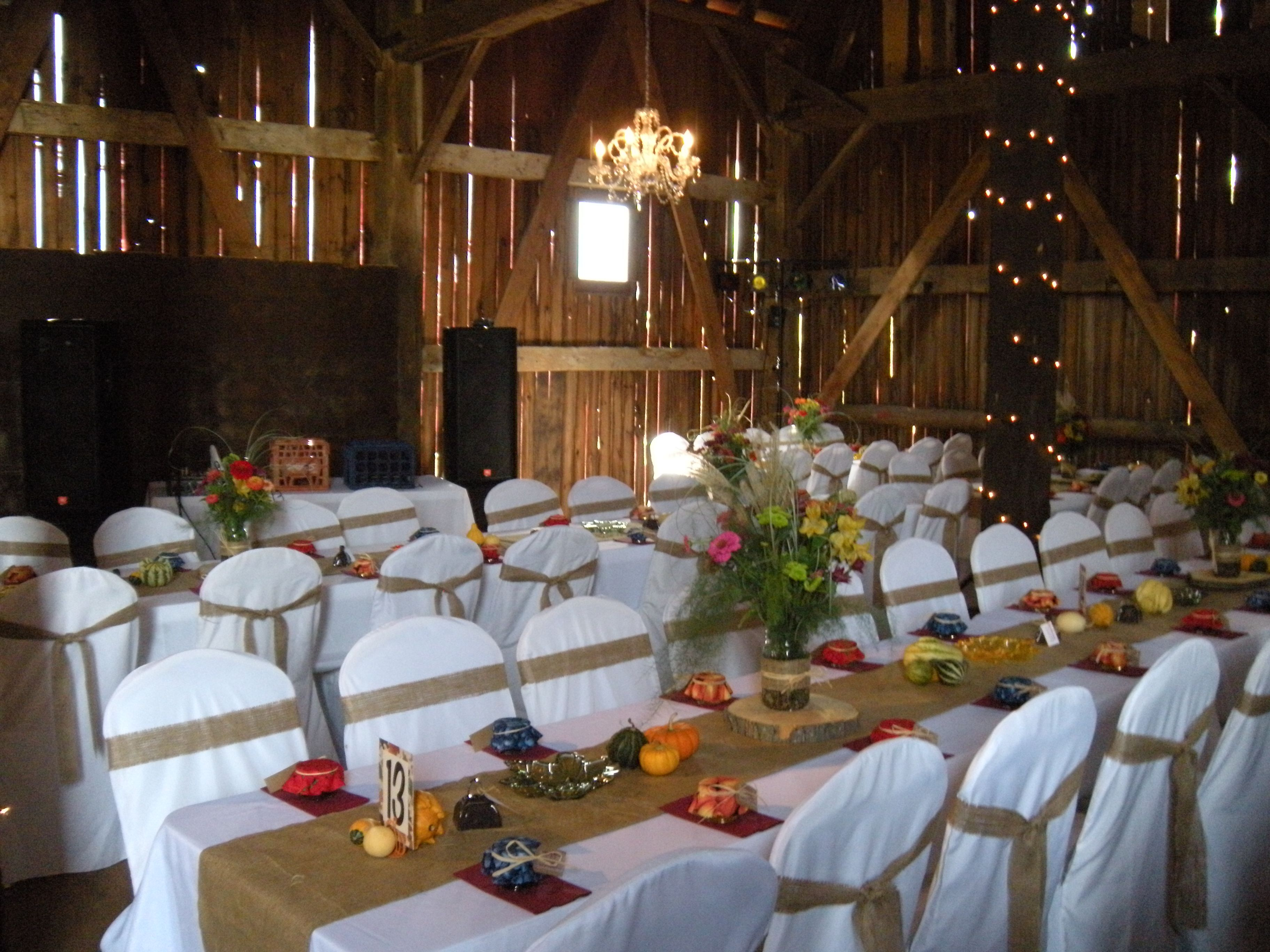 Just to show you the chairs these folks have the strips and also wedding table decoration ideas using burlap with barn burlap table runners for rustic wedding ideas junglespirit Gallery