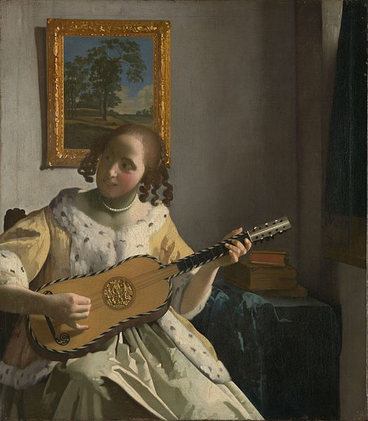 Jan Vermeer van Delft Young woman playing a guitar Date 	circa 1670-1672