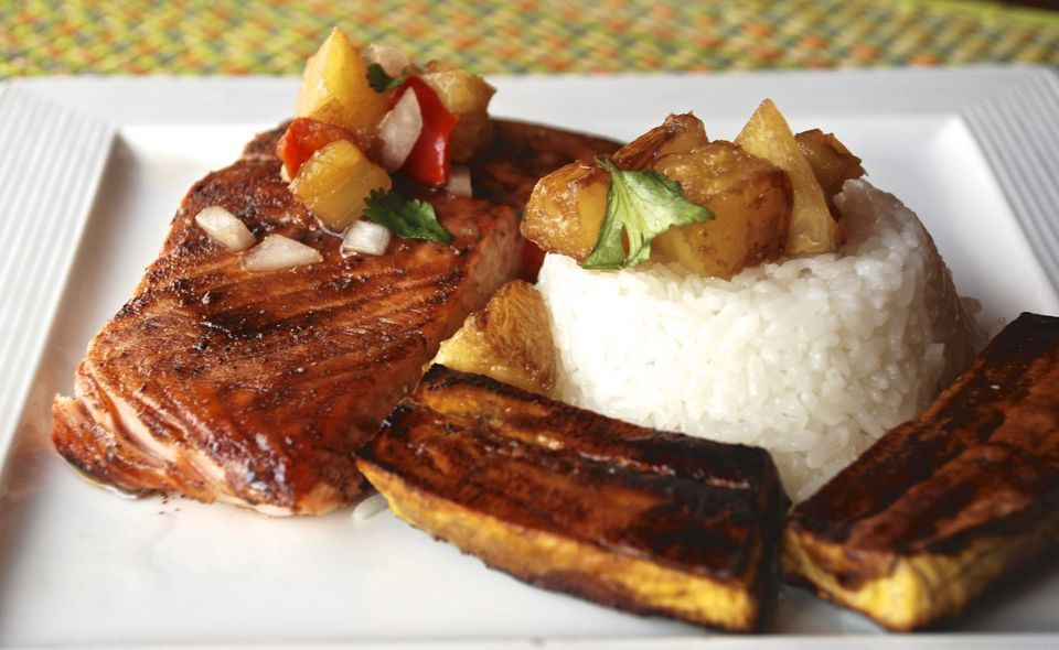 Oven Salmon With Roasted Plantains and Pineapple Recipe