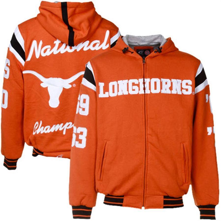 Texas Longhorns Burnt Orange Ncaa Division 1 Football 4x National Champions Cotton Fleece Full Zip Hoodie Jacket Hoodie Jacket Cold Weather Gear Cotton Fleece [ 900 x 900 Pixel ]