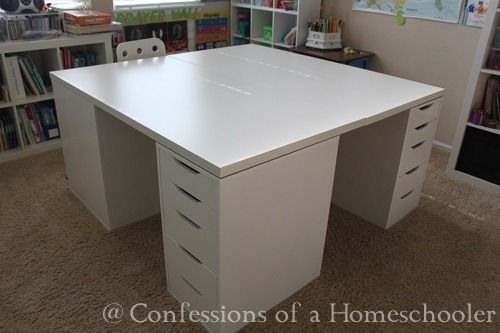 Our Ikea School Desks Confessions Of A Homeschooler Craft Table Ikea Ikea Crafts Homeschool Rooms