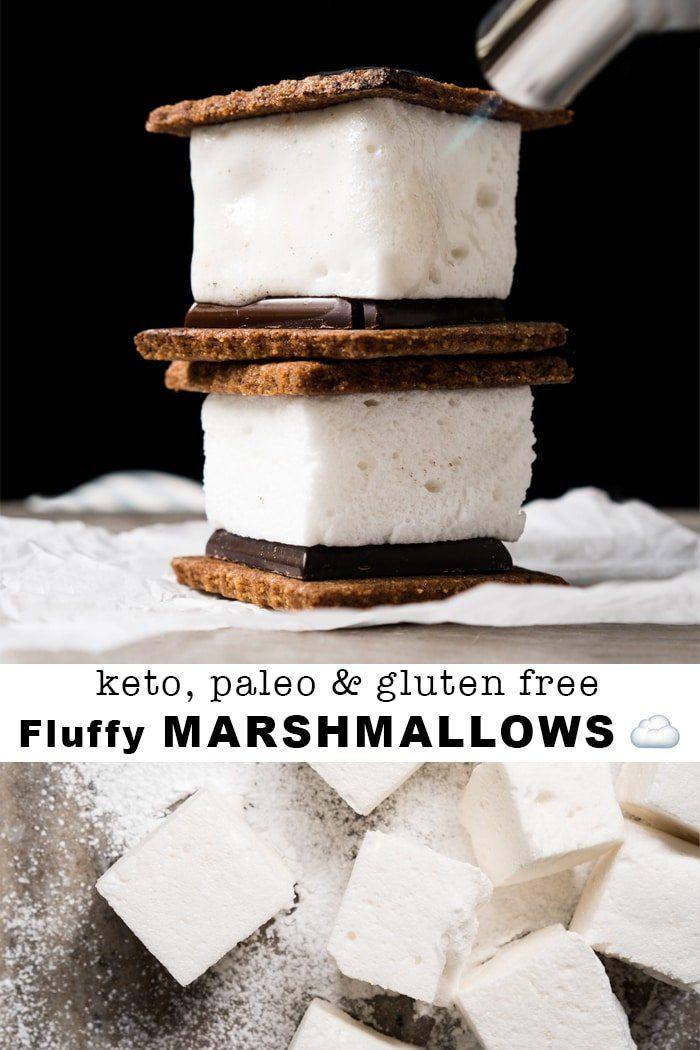 3-Ingredient Sugar Free, Paleo & Keto Marshmallows S'mores #keto #lowcarb #glutenfree #paleo #healthyrecipes #marshmallows #ketodessert #ketorecipes #ketodiet #smores #marshmallows