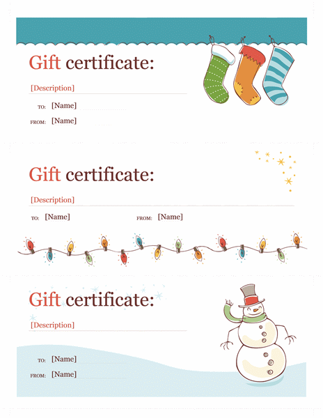 Holiday Gift Certificates Christmas Spirit Design 3 Per Page