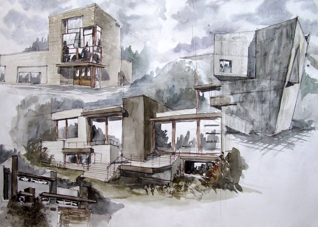 Architecture Now Sketches By Magic Ravioli Drawing Pen Watercolour