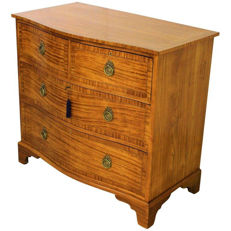 1stdibs Commode / Chest Of Drawers / Dresser - Period Inlaid Serpentine Fronted English Edwardian Satinwood #edwardianperiod