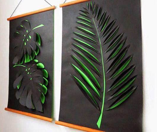Bastelideen Kreative Wandgestaltung Flur Und Wohnzimmer Mit DIY 3D Bildern Aus Papier In Grn Schwarz