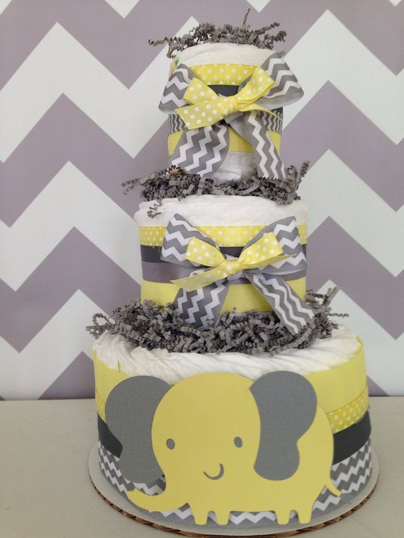 3 Tier Elephant Diaper Cake Yellow And Gray Baby Shower Centerpiece