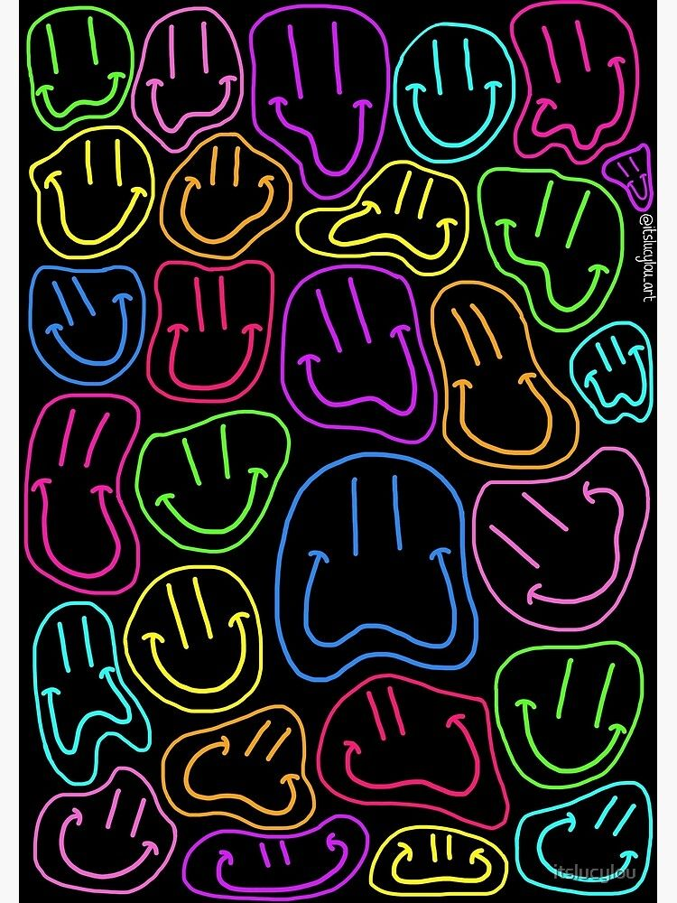 'Neon Smileys Sticker' Poster by itslucylou