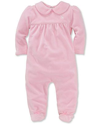 ede9160a Ralph Lauren Baby Coverall, Baby Girls Solid Velour Coverall - Kids ...