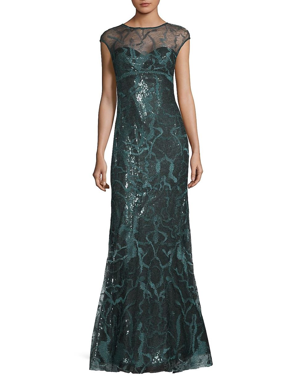 Rene ruiz embroidery cap sleeve evening gown reneruiz cap