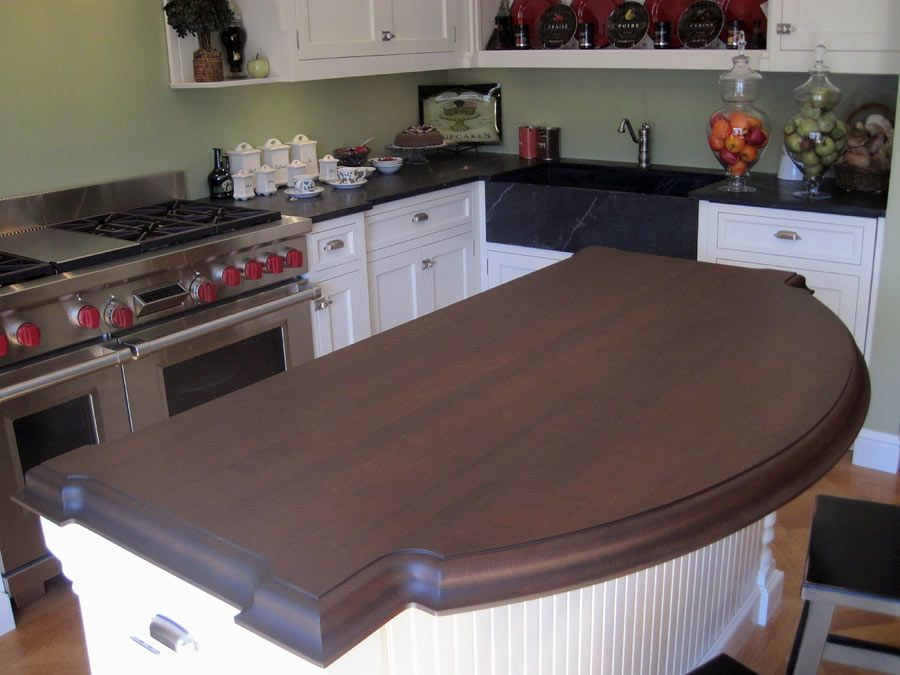 Cherry Wood Countertop For A Kitchen Island In Greenwich Ct