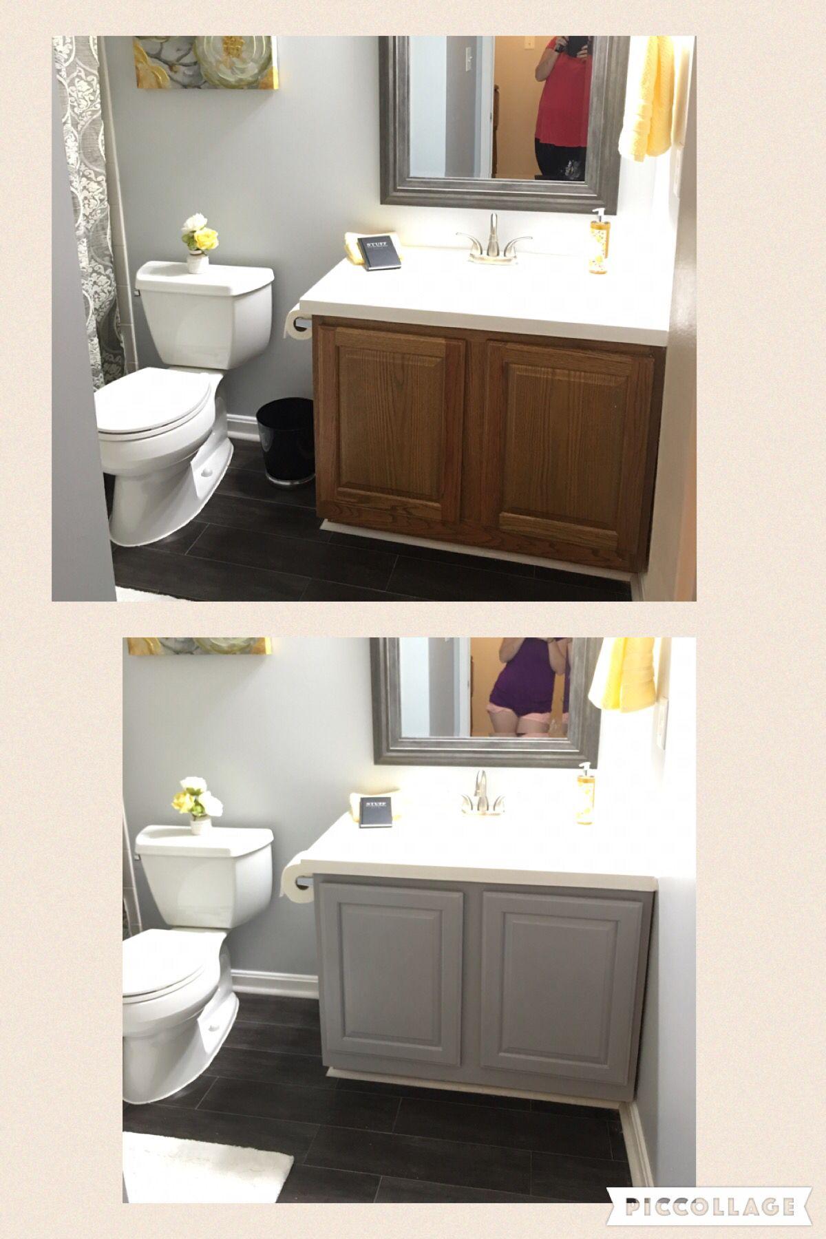 Before And After Bathroom Vanity With Annie Sloan Chalk Paint In Paris Grey Painted Vanity Bathroom Bathroom Vanity Redo Bathroom Vanity Bathroom vanity chalk paint