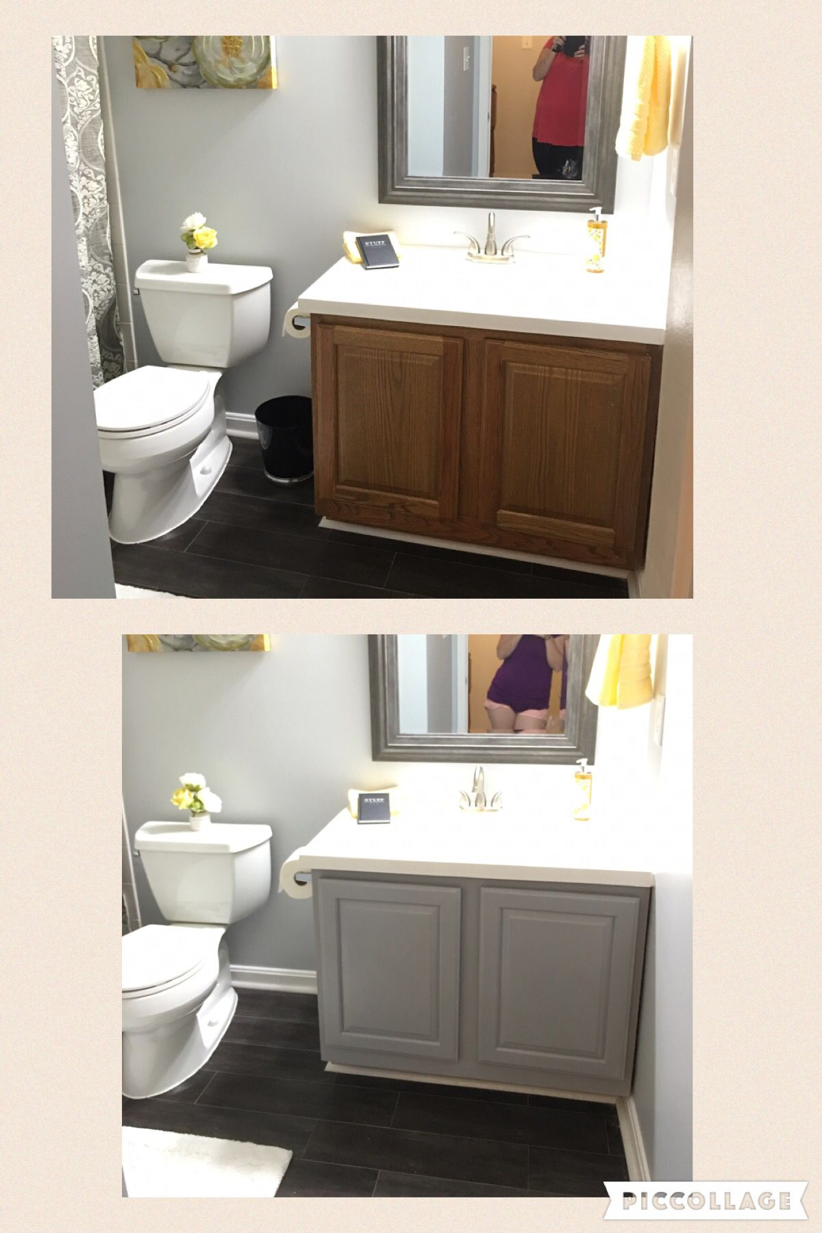 Before And After Bathroom Vanity With Annie Sloan Chalk Paint In Paris Grey Painted Vanity Bathroom Bathroom Vanity Redo Trendy Bathroom