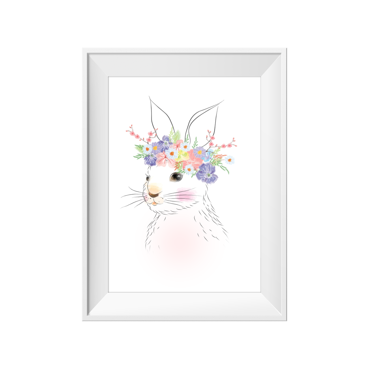 divine bunny flower crown print by the phenomenal toucan this