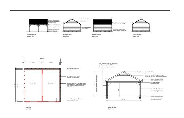 Carport Planning Drawings Barn End Side | New House | Pinterest