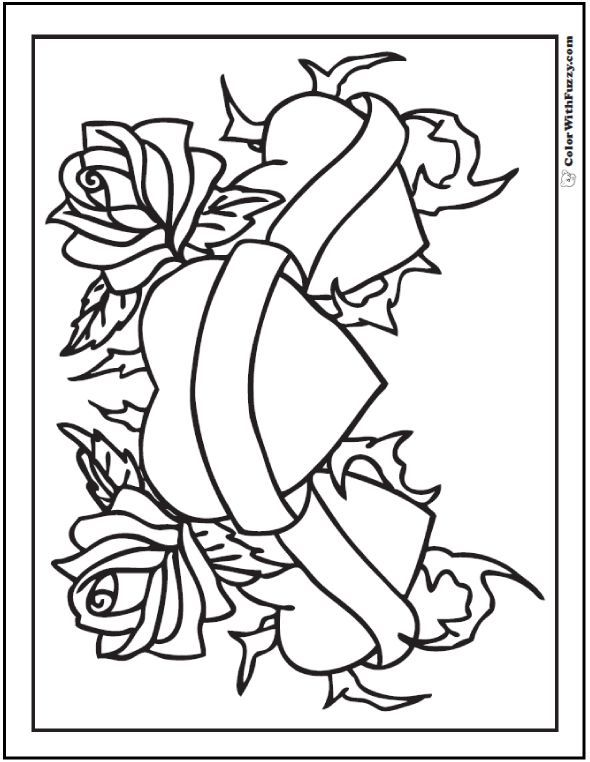 Hearts And Roses Coloring Page Happy Saint Valentine S Day Show Your Love And Write A Message On Love Coloring Pages Heart Coloring Pages Rose Coloring Pages