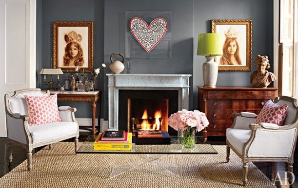 Brooke Shields' townhome via Hooked on Houses. Wall color = Benjamin Moore's Chelsea Gray