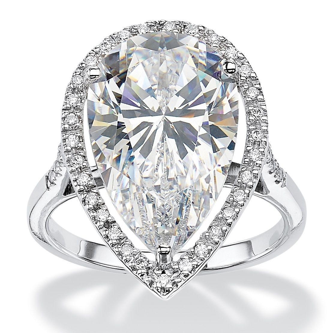 Platinum Over Sterling Silver Cubic Zirconia Ring White Jewelry Platinum Jewelry Fashion Rings