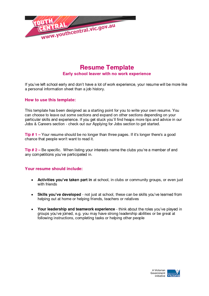 Resume Job Experience 5 Resume For Teens With No Job Experience  Sample Resumes
