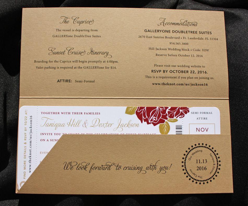 Cruise Wedding Invitations: Tan, Red & Gold Roses & Swirls Boat Cruise Boarding Pass