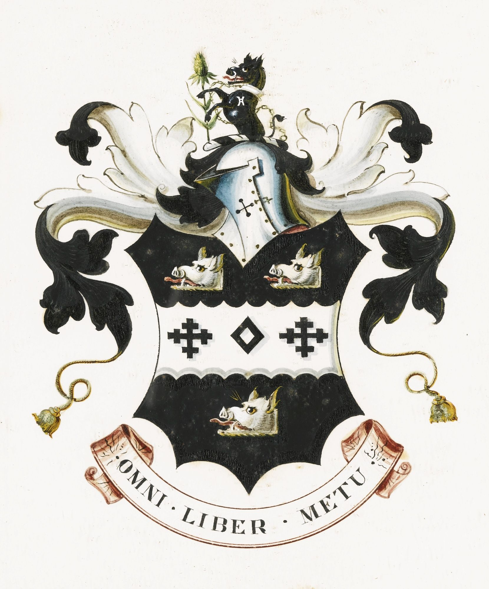 THE BIRLEY COAT OF ARMS, from the workshop of Frederick Durrant, watercolour and gouache