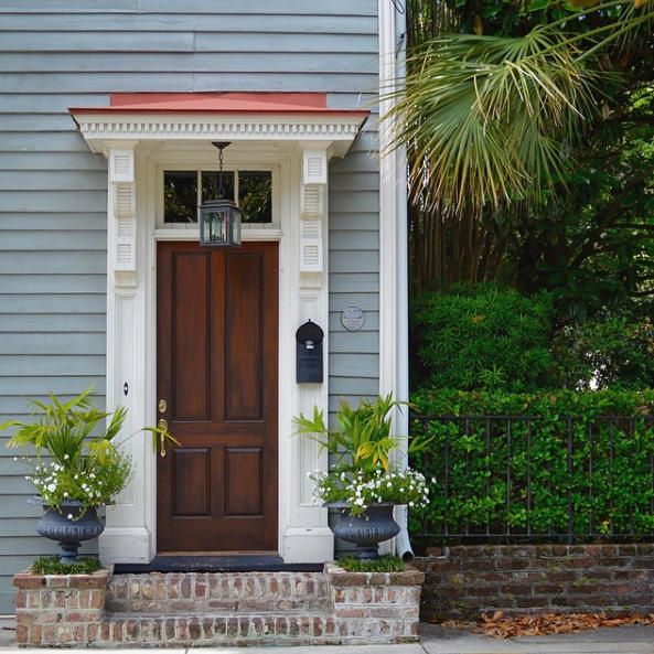 white front door blue house. Brown Door, White Frame, Blue House - Our Favorite Charleston Front Doors Southernliving Door H