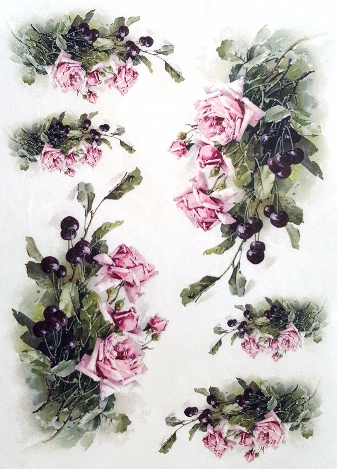 Scrapbooking Sheet Craft Vintage Rice Paper for Decoupage Flowers Bunch