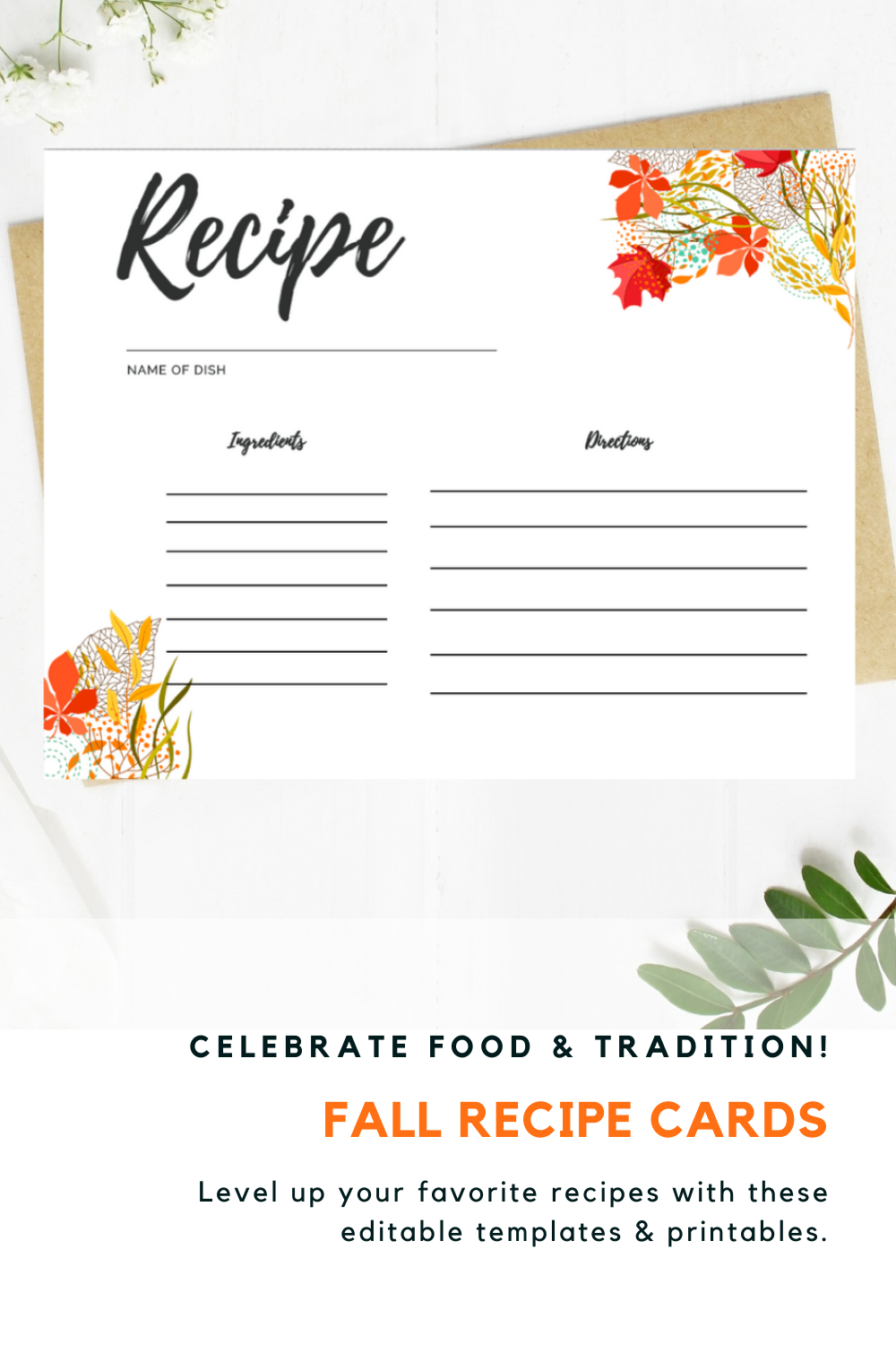 Recipe Cards Printable Floral Recipe Card 5 5 X 4 25 Recipe Etsy Printable Recipe Cards Recipe Cards Recipe Cards Template