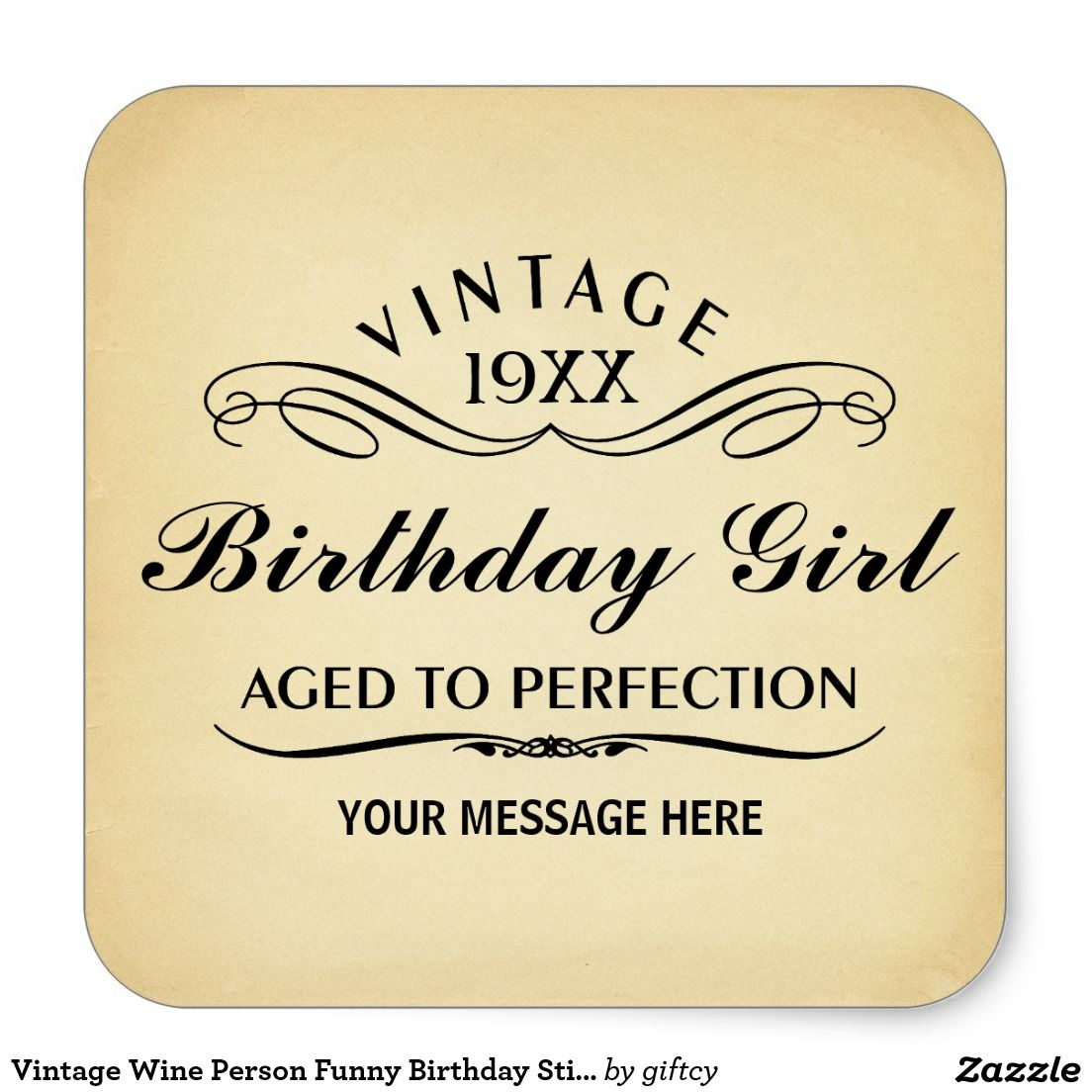 Birthday Quotes For Invitations: Vintage Wine Person Funny Birthday Sticker