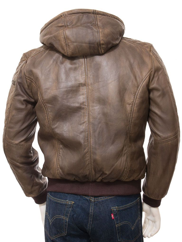 Leather Jacket With Hood Hooded Bomber Jacket Brown Leather Jacket Men [ 1024 x 768 Pixel ]