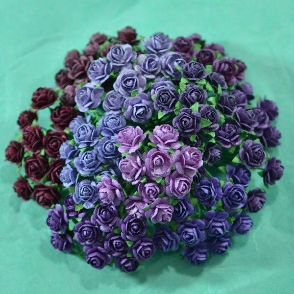 100 MIXED MINI MULBERRY PAPER ARTIFICIAL ROSE FLOWERS PURPLE TONE COLOR 10 mm #Unbranded