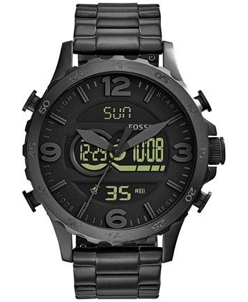 fossil men s analog digital nate black ion plated stainless steel fossil men s analog digital nate black ion plated stainless steel bracelet watch 50mm jr1507