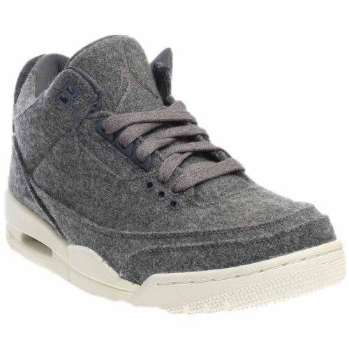 929d2c3f3a97 Nike Jordan Men s Air Jordan 3 Retro Wool Dark Grey Dark Grey Sail (Dark  Grey Blue) Basketball Shoe 8.5 Men US
