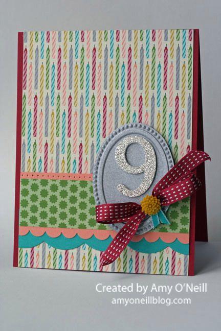 Birthday Basics DSP, Glimmer paper, Typeset Alphabet Bigz dies, Designer Frames embossing folders, Large Scallop edgelit die, Scallop Edge Border punch, In Color Dahlias, 3/8″ Stitched Satin Ribbon, Bermuda Bay 1/8″ Taffeta Ribbon