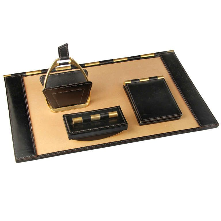 French Leather and Brass Desk Set - French Leather And Brass Desk Set Modern Desk Accessories, Desk